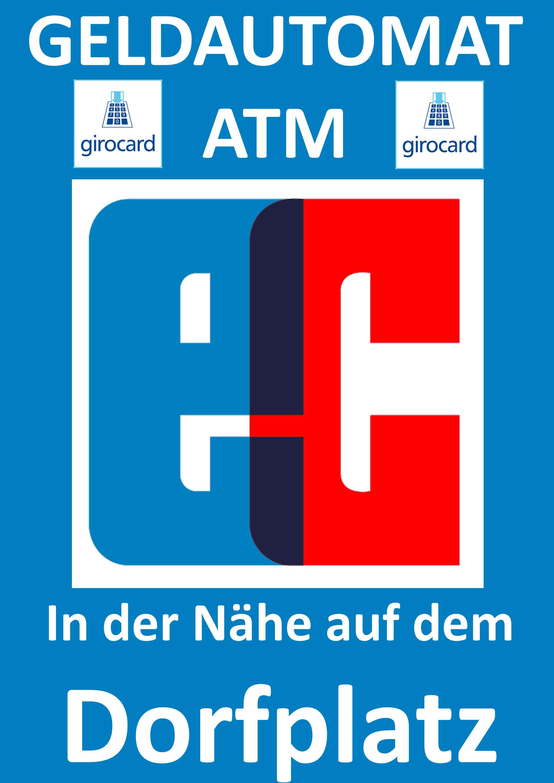 Hinweisschild zur Bewerbung des moneyserv-Geldautomaten